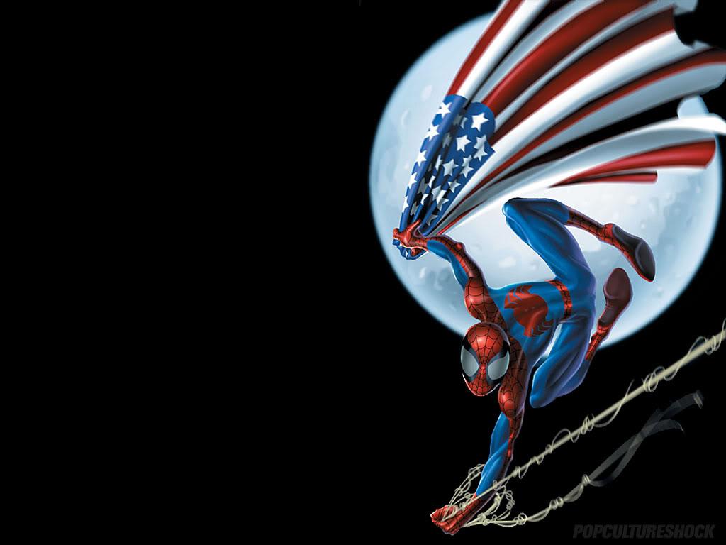 Labels Patriotic Computer Wallpaper Spiderman US Flag 1024x768
