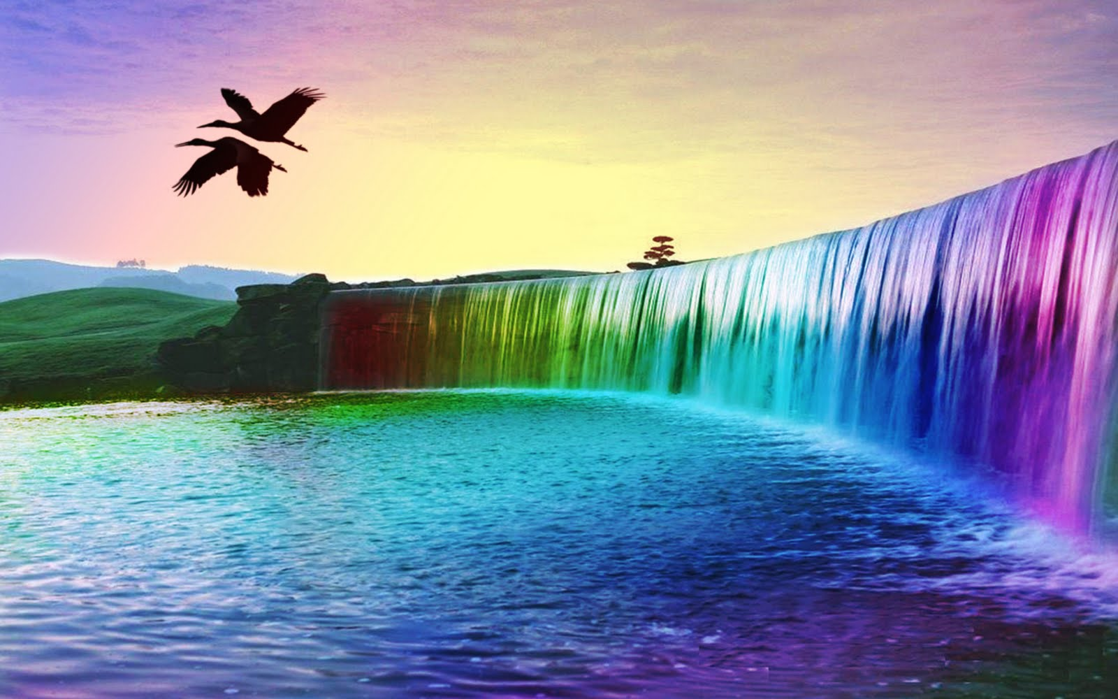 colourful waterfall 3d background 3d nature wallpaper 1600x1000
