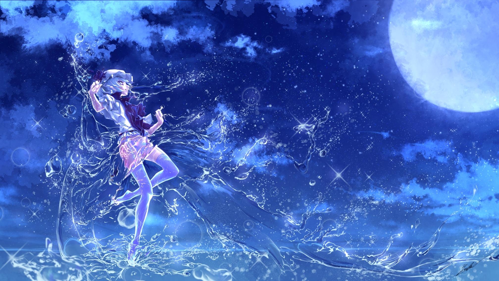 touhou anime art water girl full moon glitter background 2016x1134