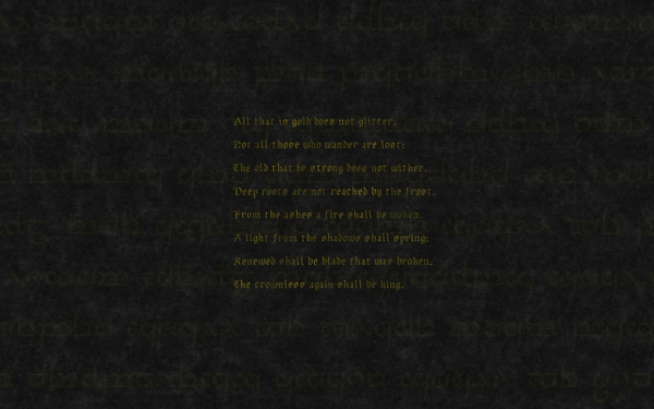 typography the lord of the rings poetry writing literature Wallpaper 600x375