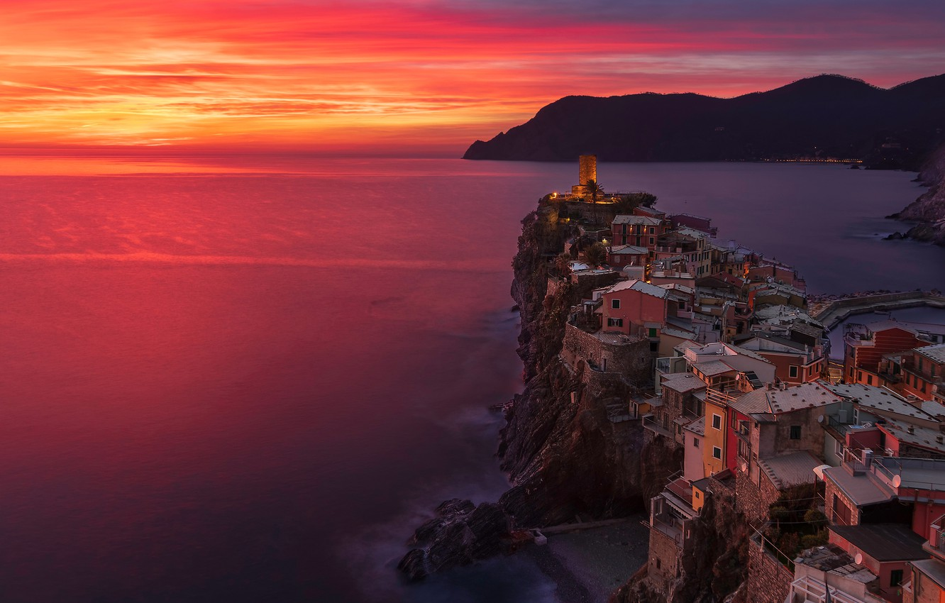Wallpaper sea sunset coast building home Italy Italy The 1332x850