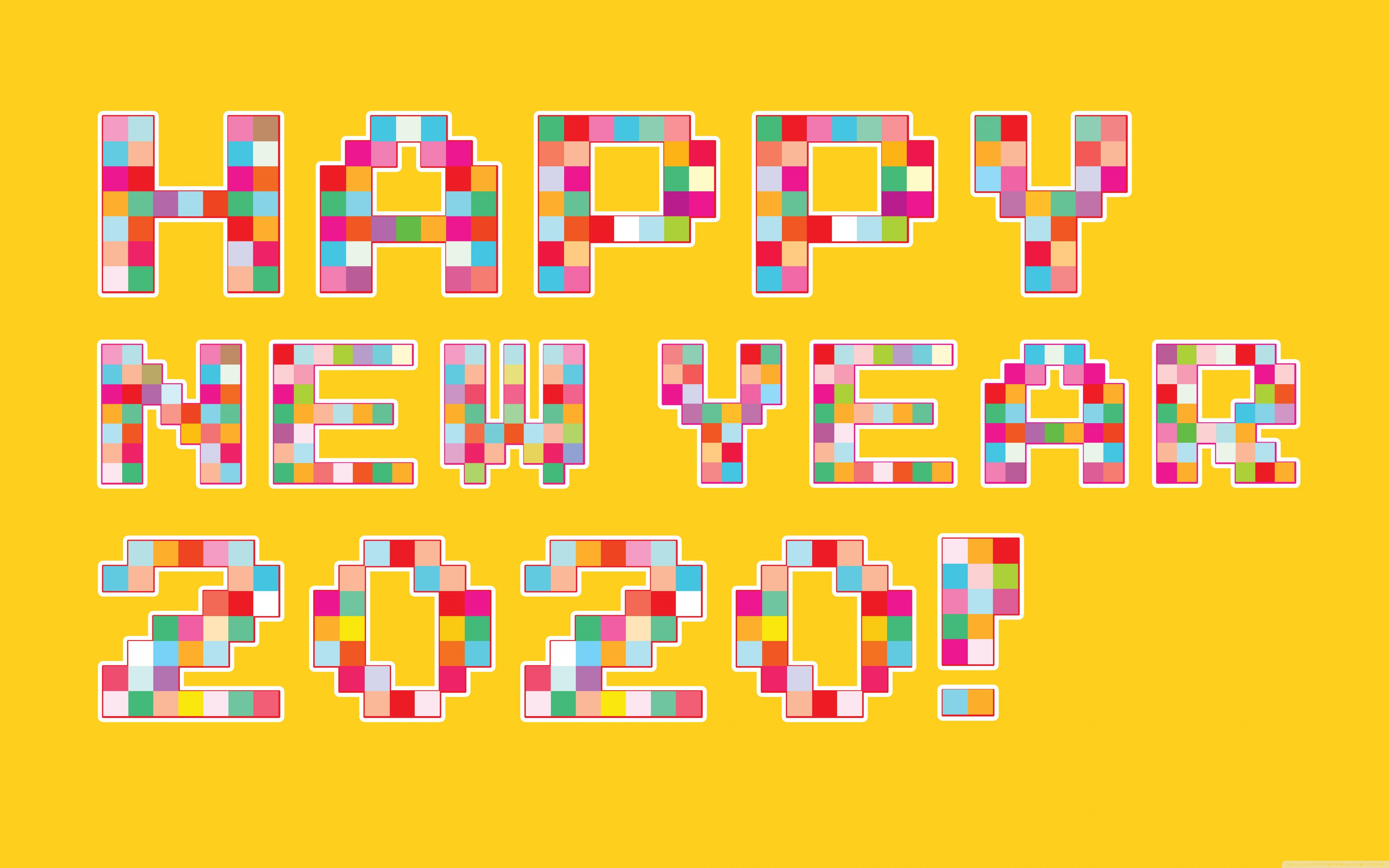 Happy New Year 2020 Pixel Art 4K HD Desktop Wallpaper for 4K 5120x3200