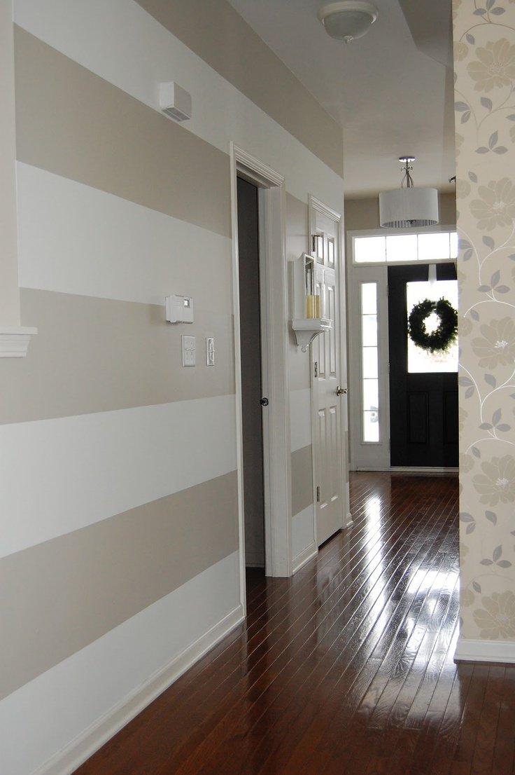 horizontal striped hallway with coordinating wallpaper WefollowPics 736x1106