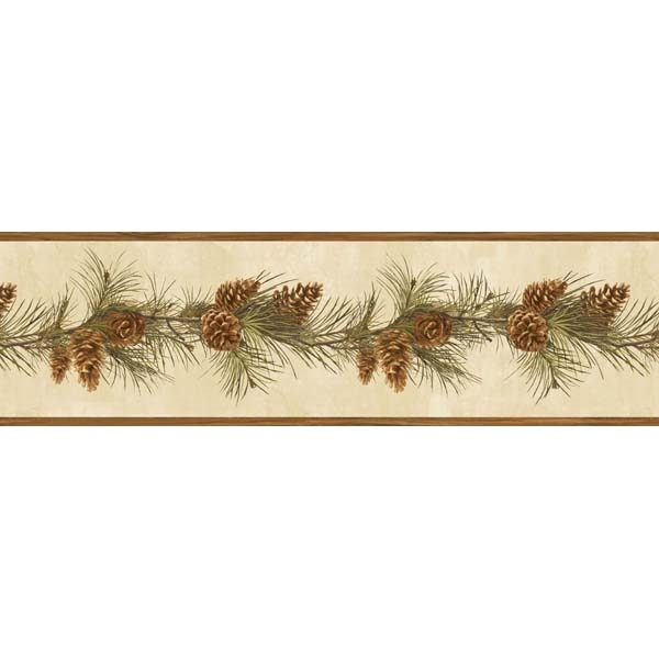 Pine Cone Boughs Wallpaper Border BBC48401B Lodge Cabin 600x600