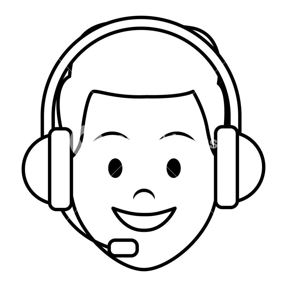 costumer services assistant man with headset only face drawing in 1000x1000