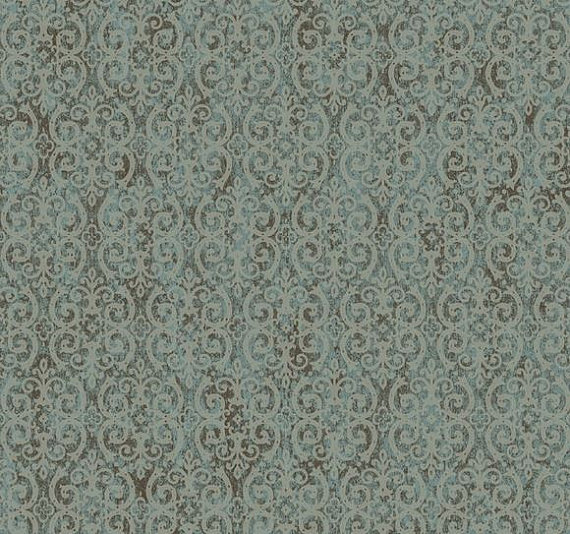 Taupe Scrolling Trellis on Metallic Silver by WallpaperYourWorld 570x534