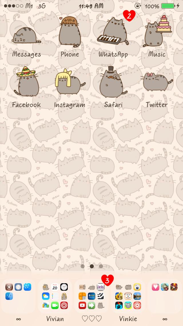 Cute iPhone Themes The Pusheen Cat 640x1136