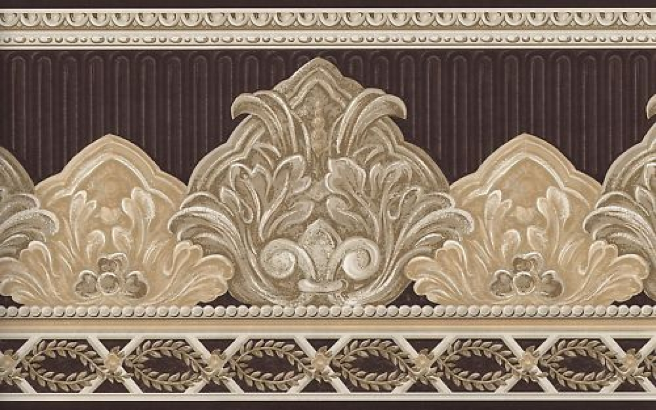 Wallpaper border elegant brown and beige scroll ebay 1280x801