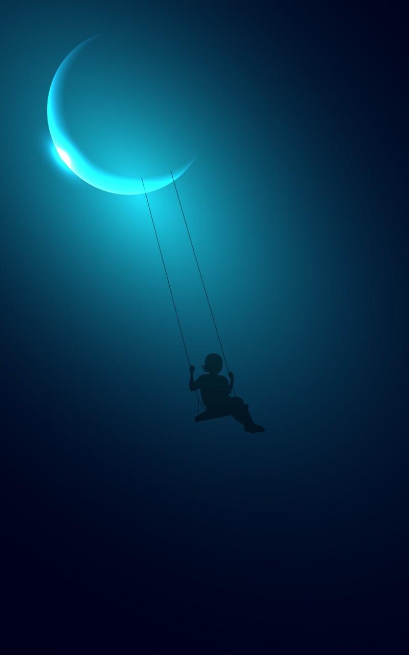 Little Girl Swinging on the Moon HD wallpaper for Kindle Fire HD 800x1280
