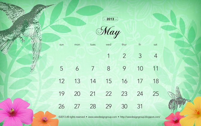 wee design group monthly wallpaper May 2013 calendar 672x420