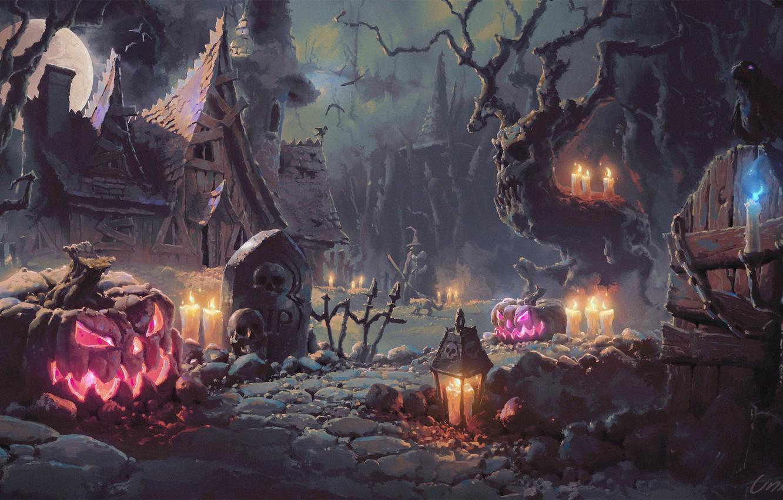 Wallpaper night house bird the moon candles pumpkin Raven 1332x850