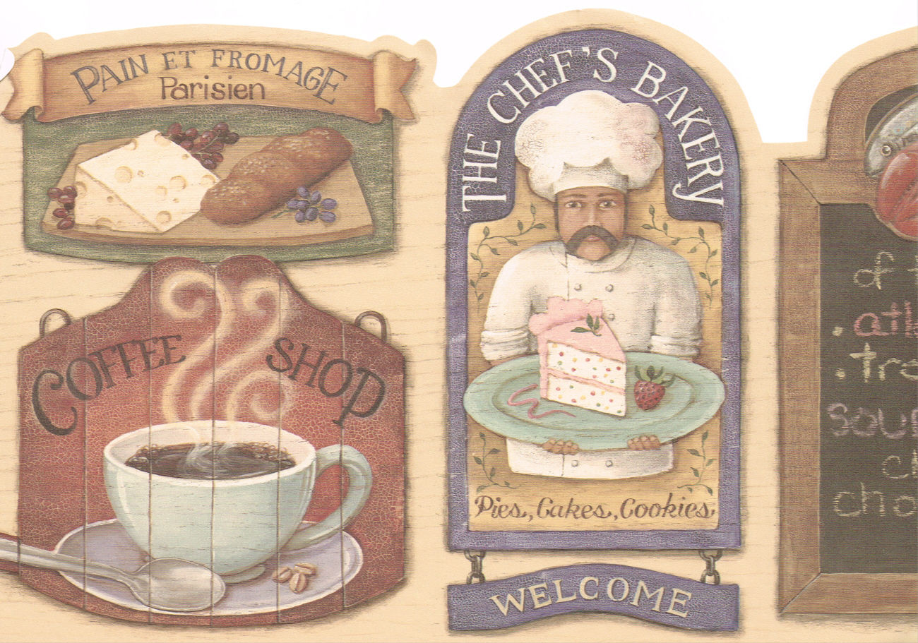 ANTIQUE KITCHEN COFFEE SHOP PLUS COUNTRY Wallpaper bordeR Wall 1300x911