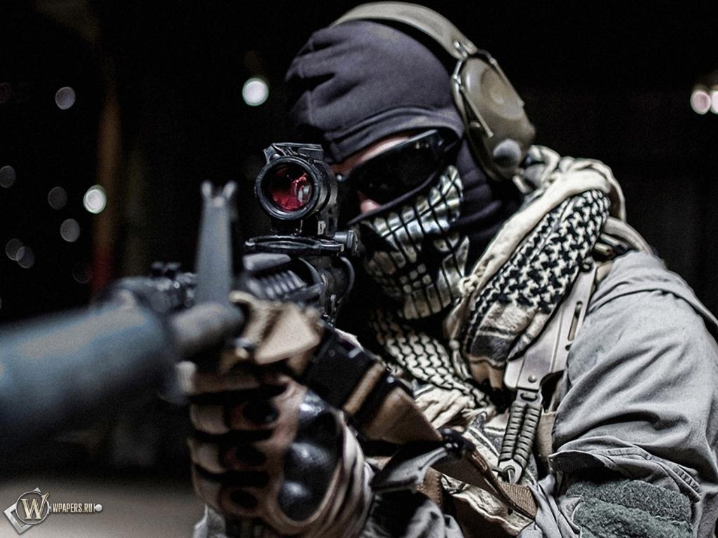 Обои, Modern Warfare: Ghost, Автомат, Маска, 1024x768 ...
