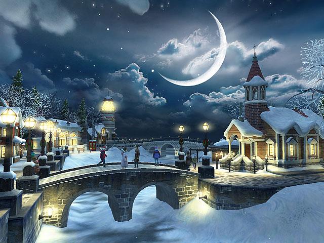 Christmas Desktop Wallpapers Christmas Snow House Desktop Wallpapers 640x480