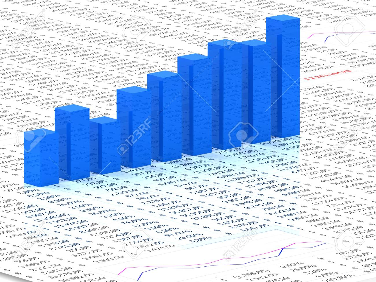 Spreadsheet With Blue Graph Bars With Numbers In Background Stock 1300x975