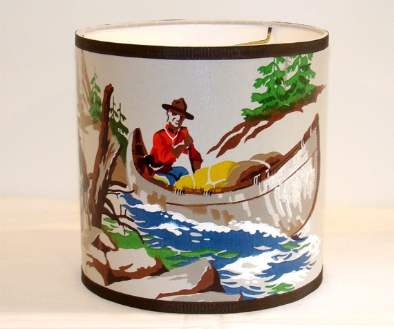 Vintage Wallpaper Drum Shade 1950s RCMP Royal Canadian by Fondue 570x476