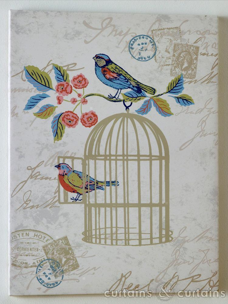 Vintage Charm Blue Bird Cage Wallpaper   Bird Wallpaper UK 750x1000
