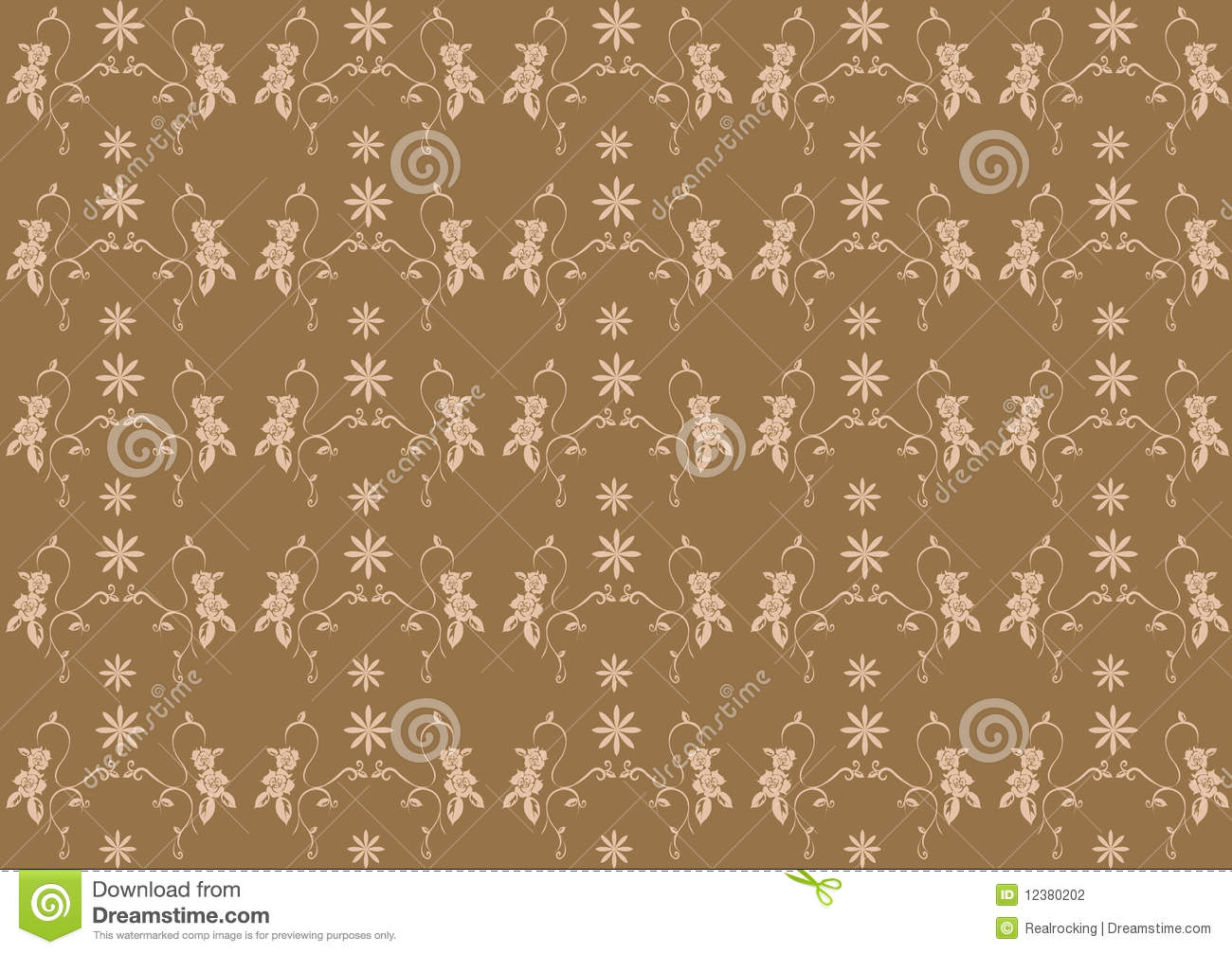 Floral pattern seamless Flower vector motif on brown background 1300x1007