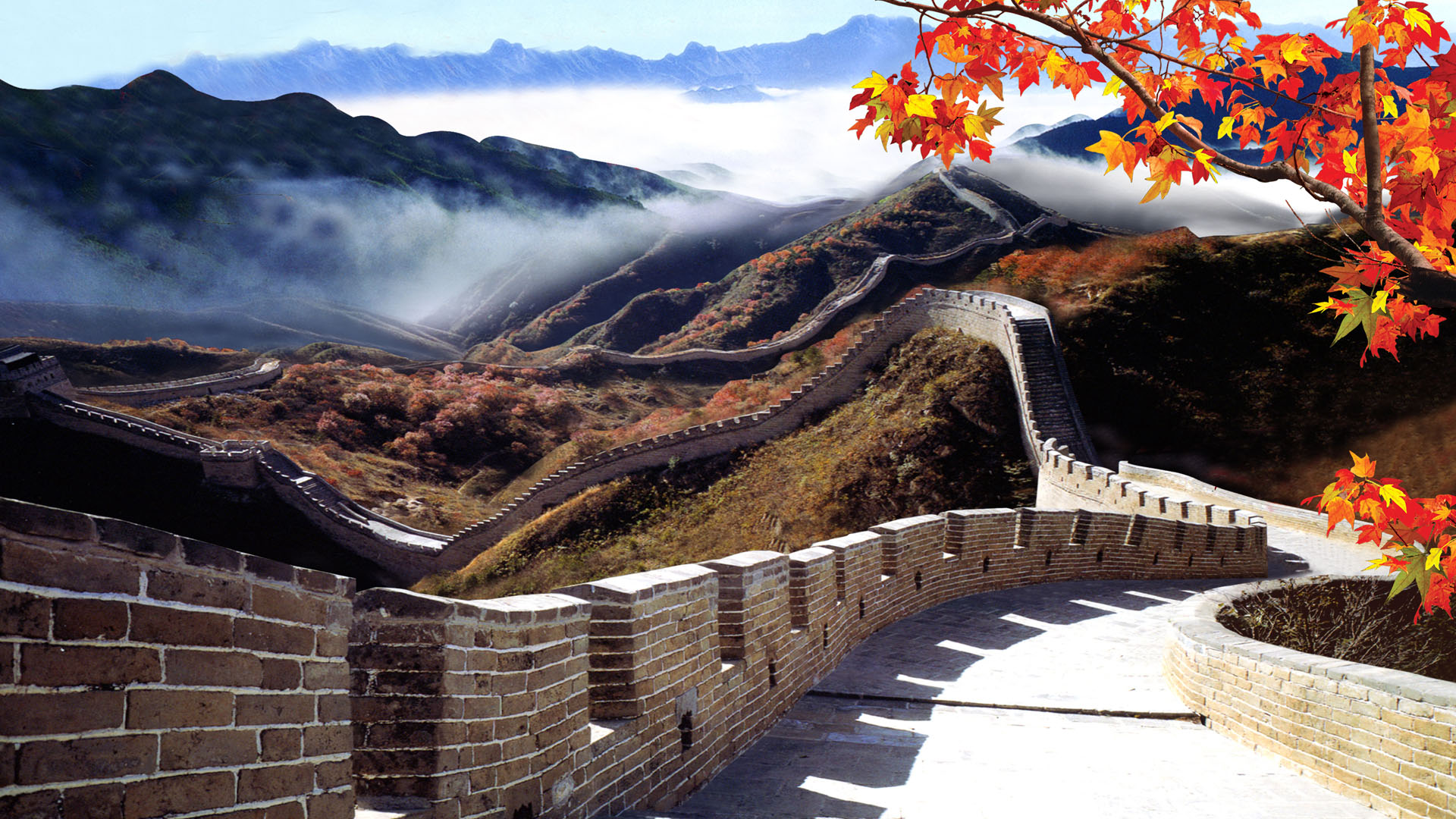 Great Wall of China Under Fog Wallpaper   Travel HD Wallpapers 1920x1080