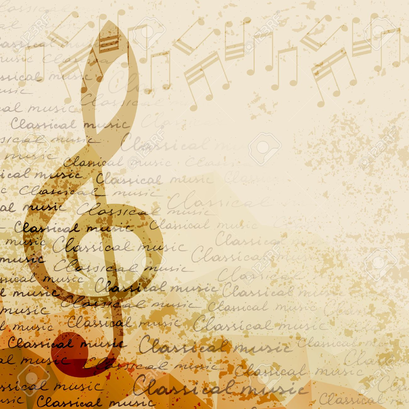 Treble Clef And Notes On Blurred Background Classical Music 1300x1300