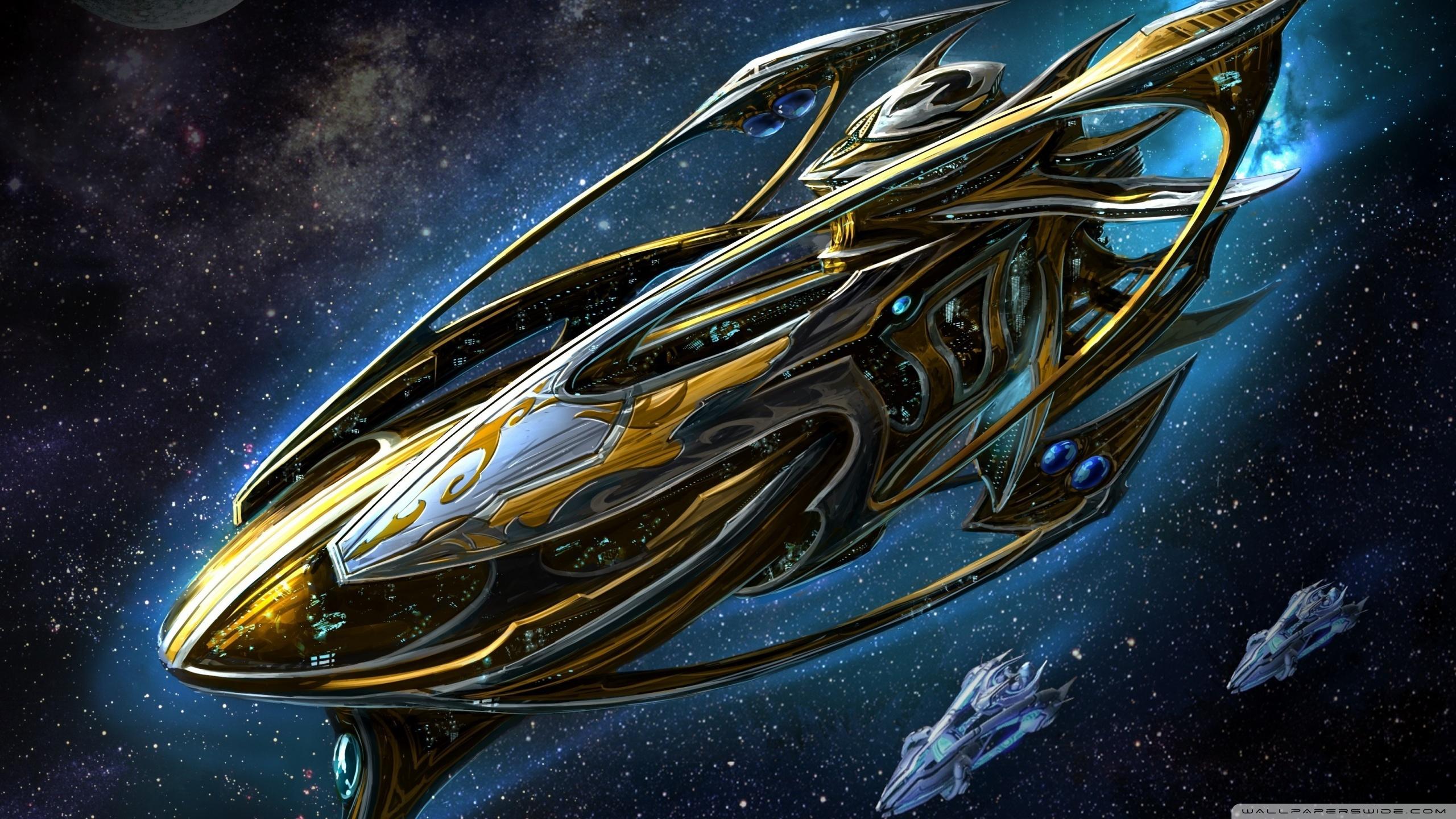 Starcraft Protoss Battleship Ultra HD Desktop Background Wallpaper 2560x1440