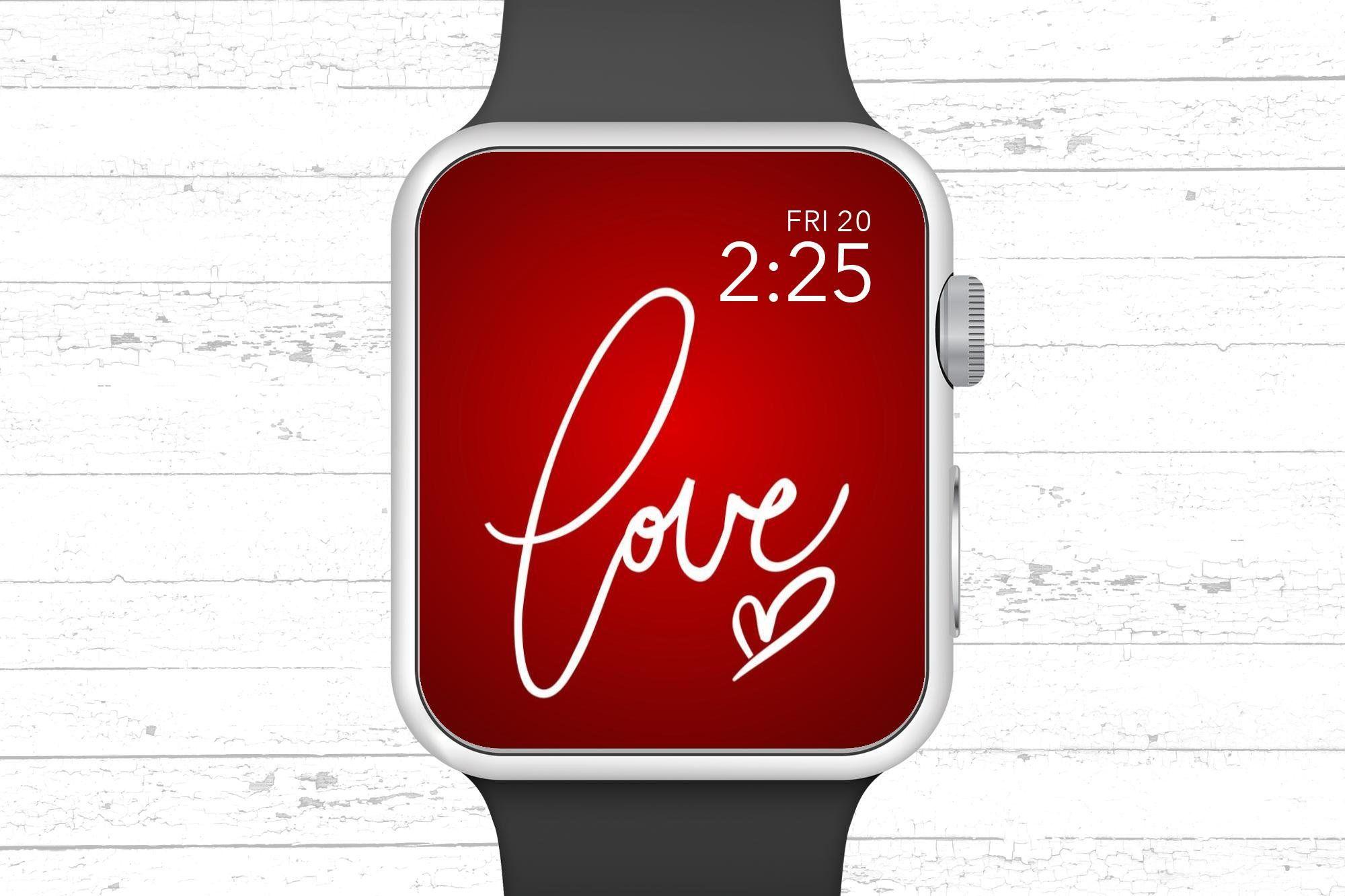 Apple Watch Wallpaper Hand Written Love with Heart Valentines Day 2000x1333