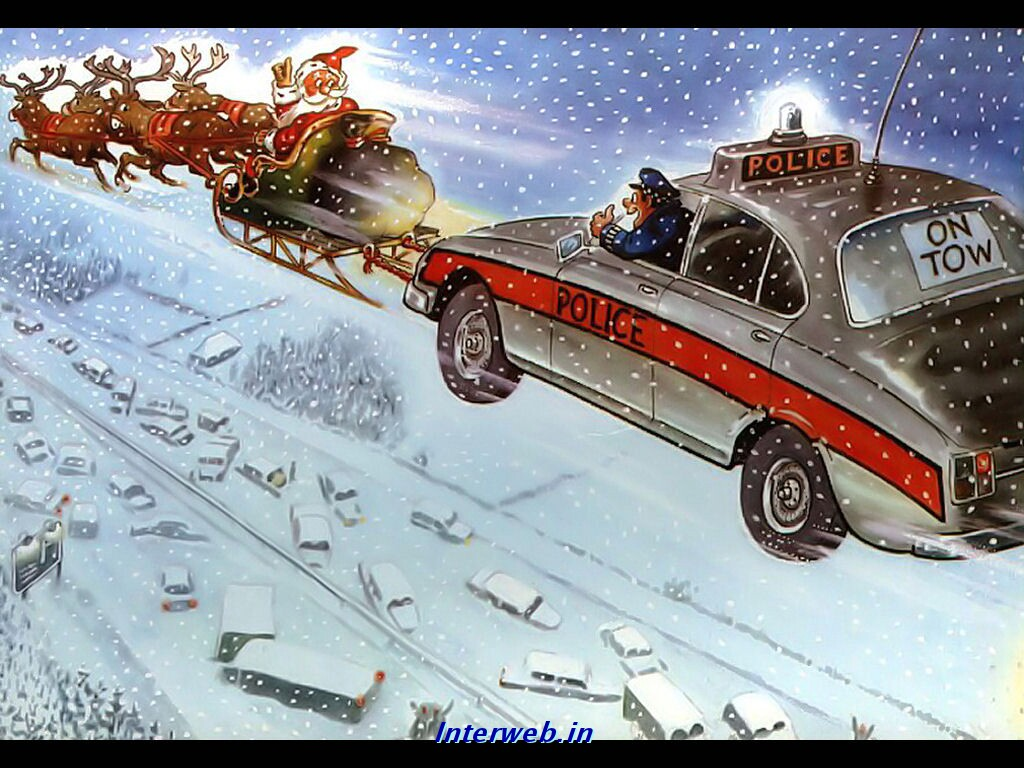funny christmas wallpaper christmas funny police wallpaperjpg 1024x768