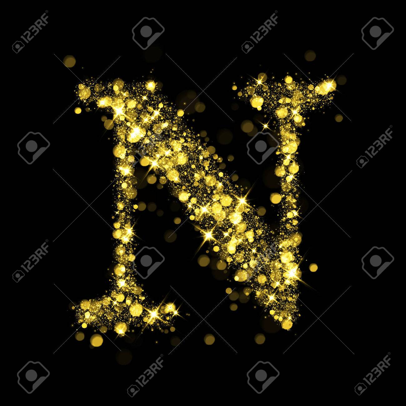 Sparkling Letter N On Black Background Part Of Alphabet Set 1300x1300