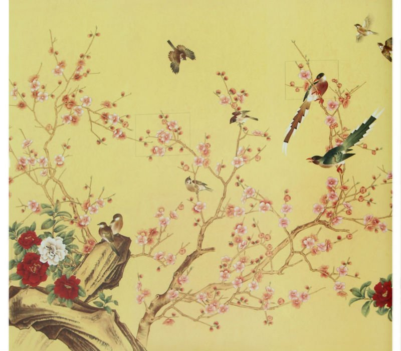 Gorgeous Flowers Birds Hand Made Oriental Style Yulan Wall Paper 800x700