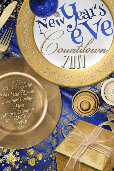 Elegant Gold New Year Eve Christmas Holiday Blue Party 460x690