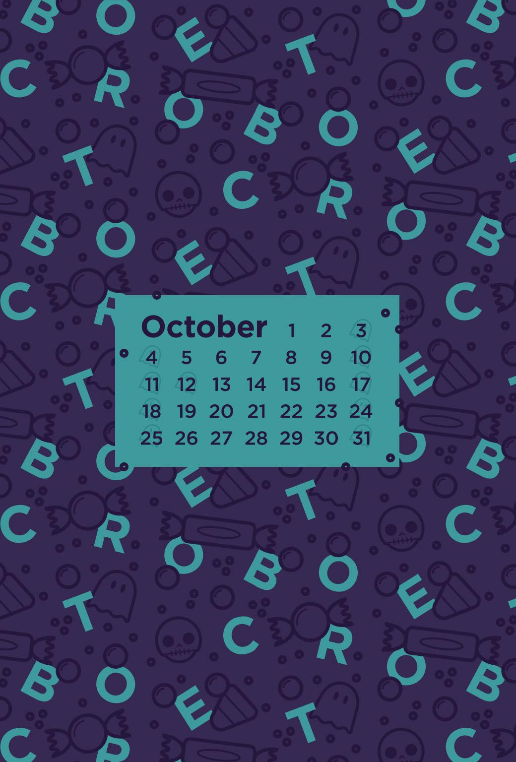 October 2015 Desktop Calendar Wallpaper Paper Leaf 1040x1536
