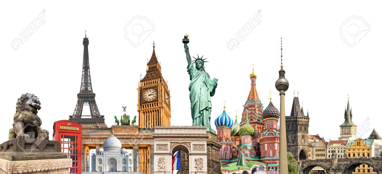 World Landmarks Photo Collage Isolated On White Background Travel 1300x593