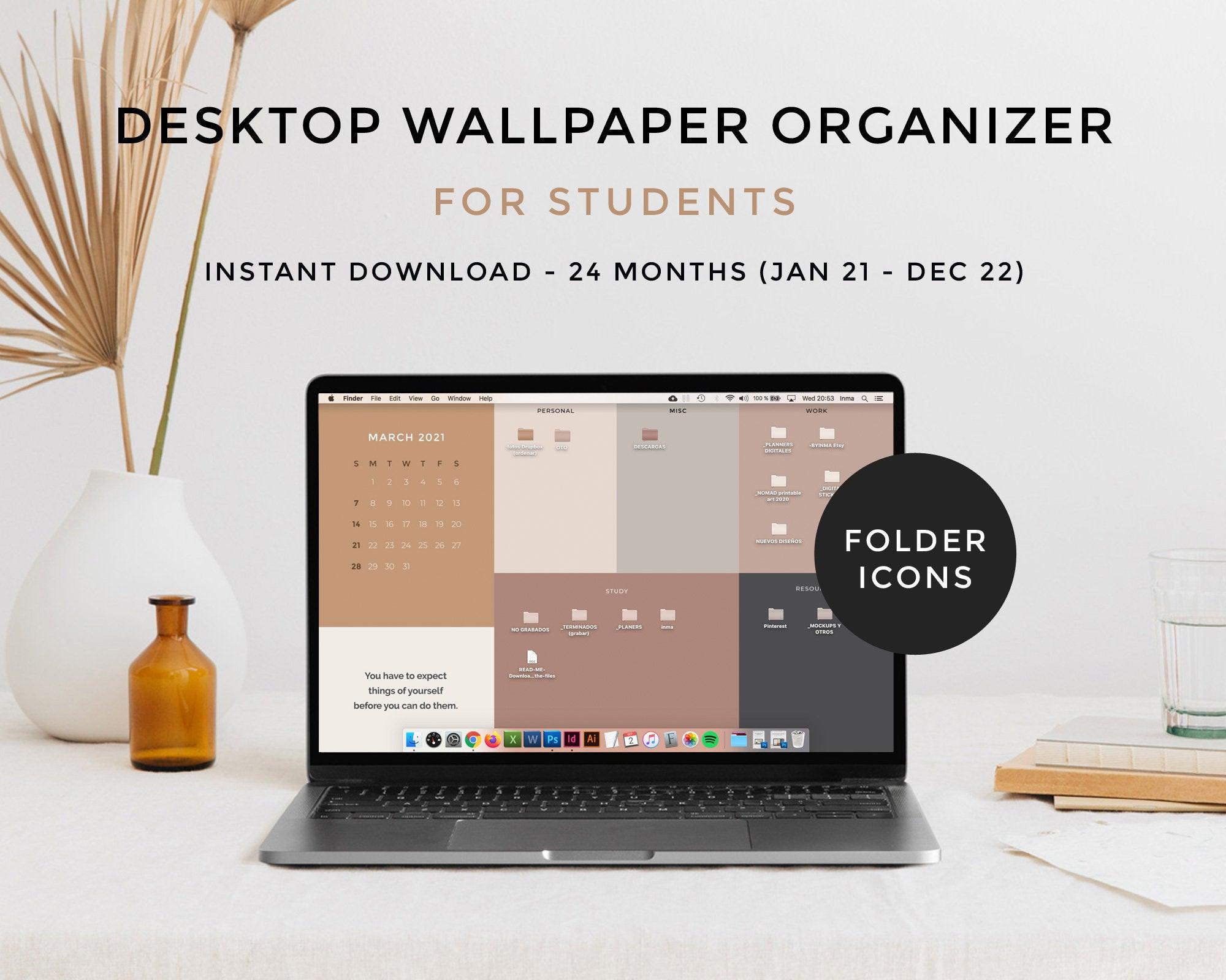 Desktop wallpaper organizer calendar 2021 2022 Minimalist 2000x1600