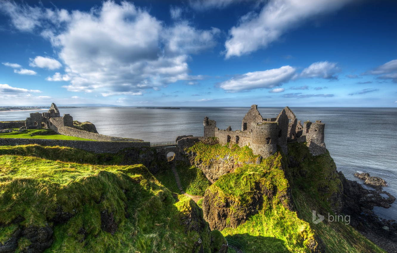 Wallpaper sea the sky rock the ruins ruins Northern Ireland 1332x850