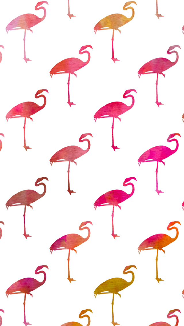 Watercolor Flamingos iPhone Wallpaper   Silver Spiral Studio 640x1136