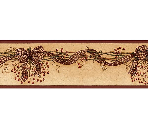 Burgundy Rosehip Garland Wallpaper Wall Border 600x525