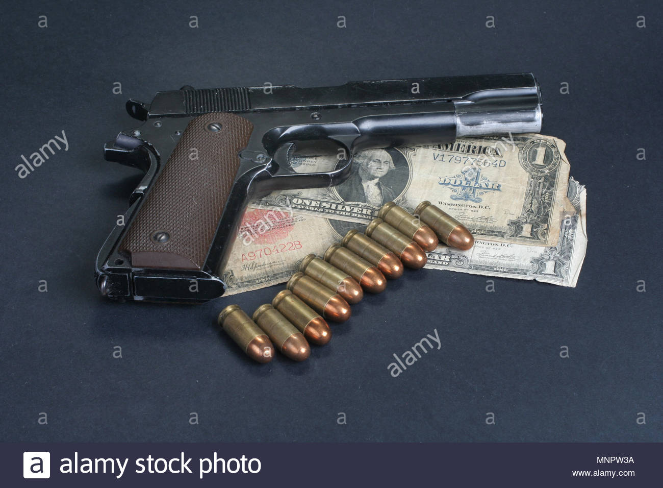 colt goverment M1911 on black background Stock Photo 185514094 1300x956