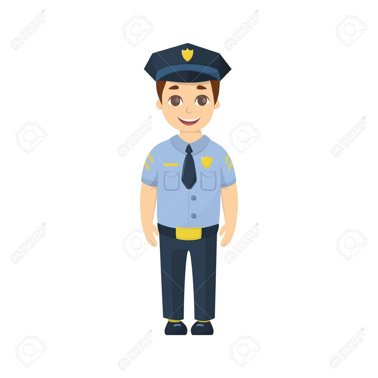 Cartoon Kid Policeman On White Background Funny Cute Character 1300x1300
