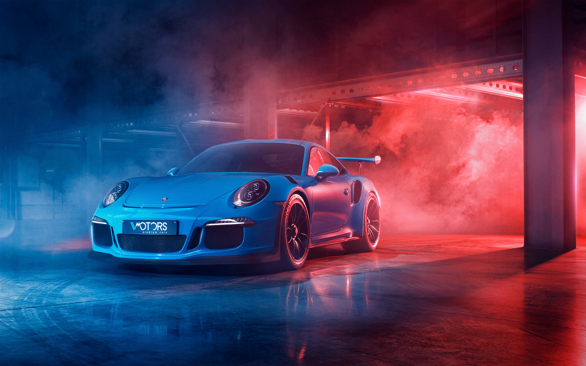 Wallpaper of Blue Car Smoke Porsche 911 GT3 Sport Car 1920x1200