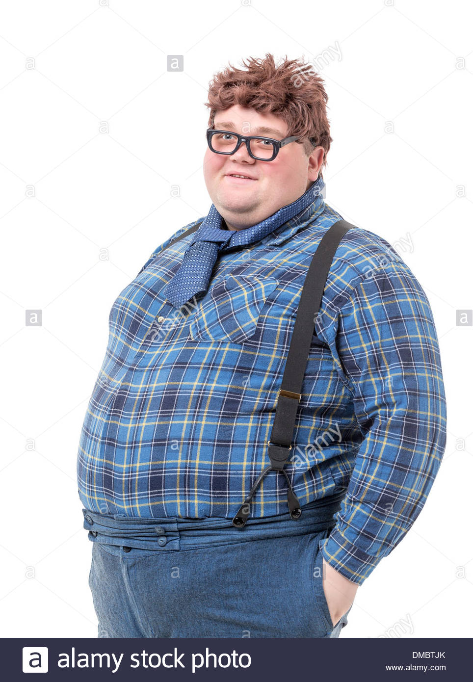 Overweight obese country yokel on white background Stock Photo 964x1390