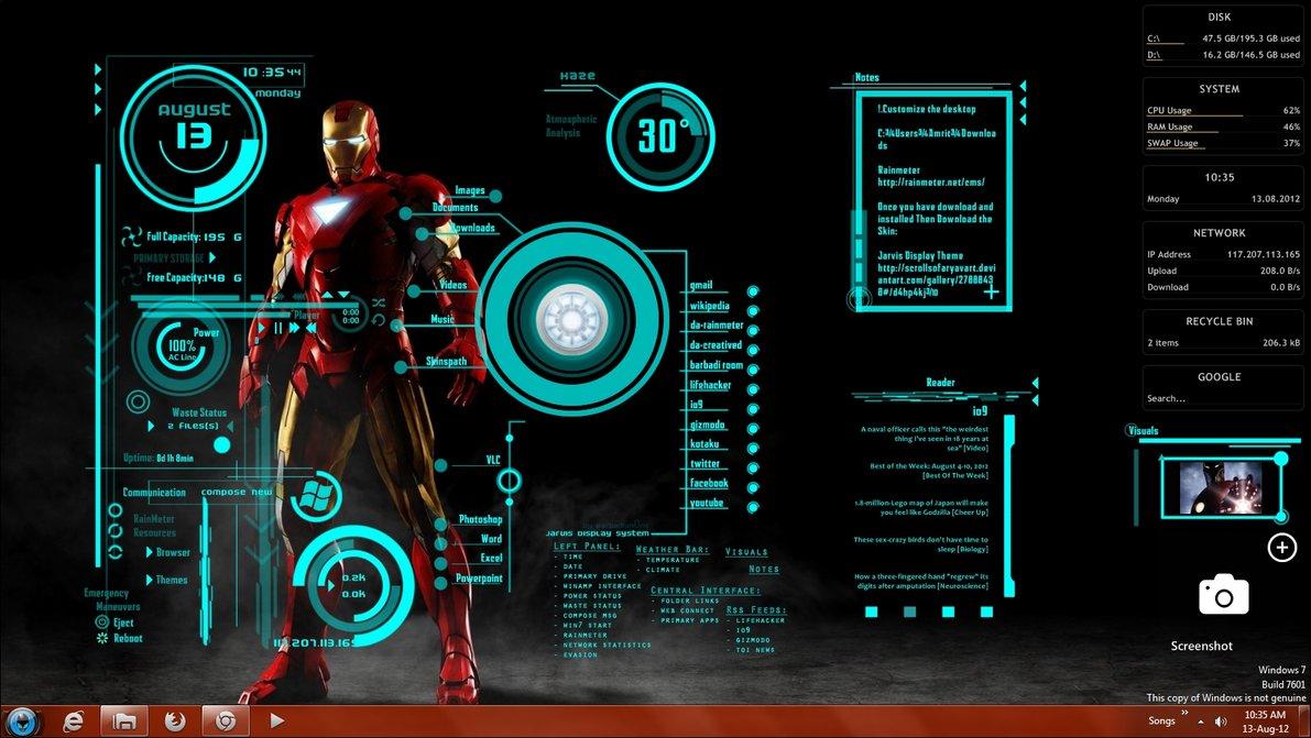 iron man theme wallpaper by satzwin7 1191x671