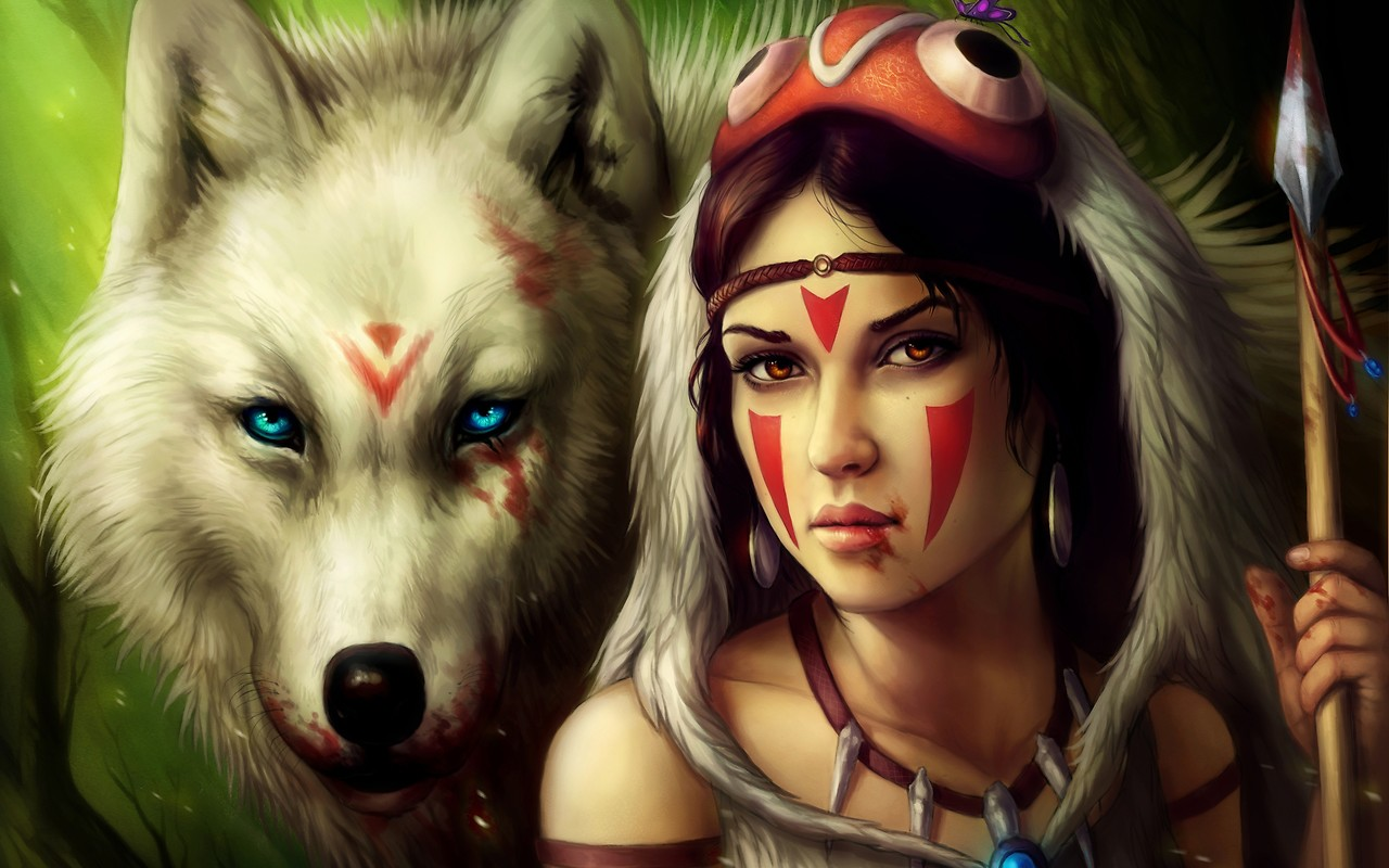 Indian Girl With Wolf Wallpaper download   Download Indian 1280x800