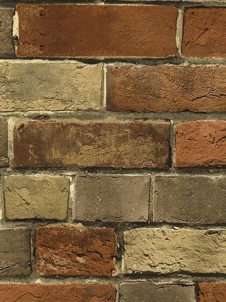 Details about Wallpaper Faux Rust Tuscan Brick Wall, Looks Real Up!