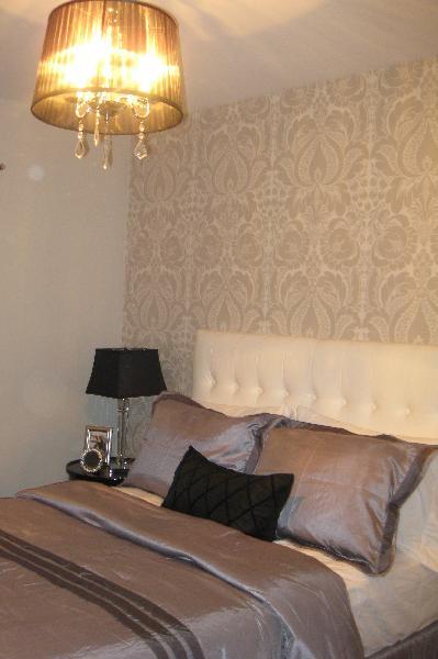 Gray Damask Wallpaper   Contemporary   bedroom   Benjamin Moore barren 399x600