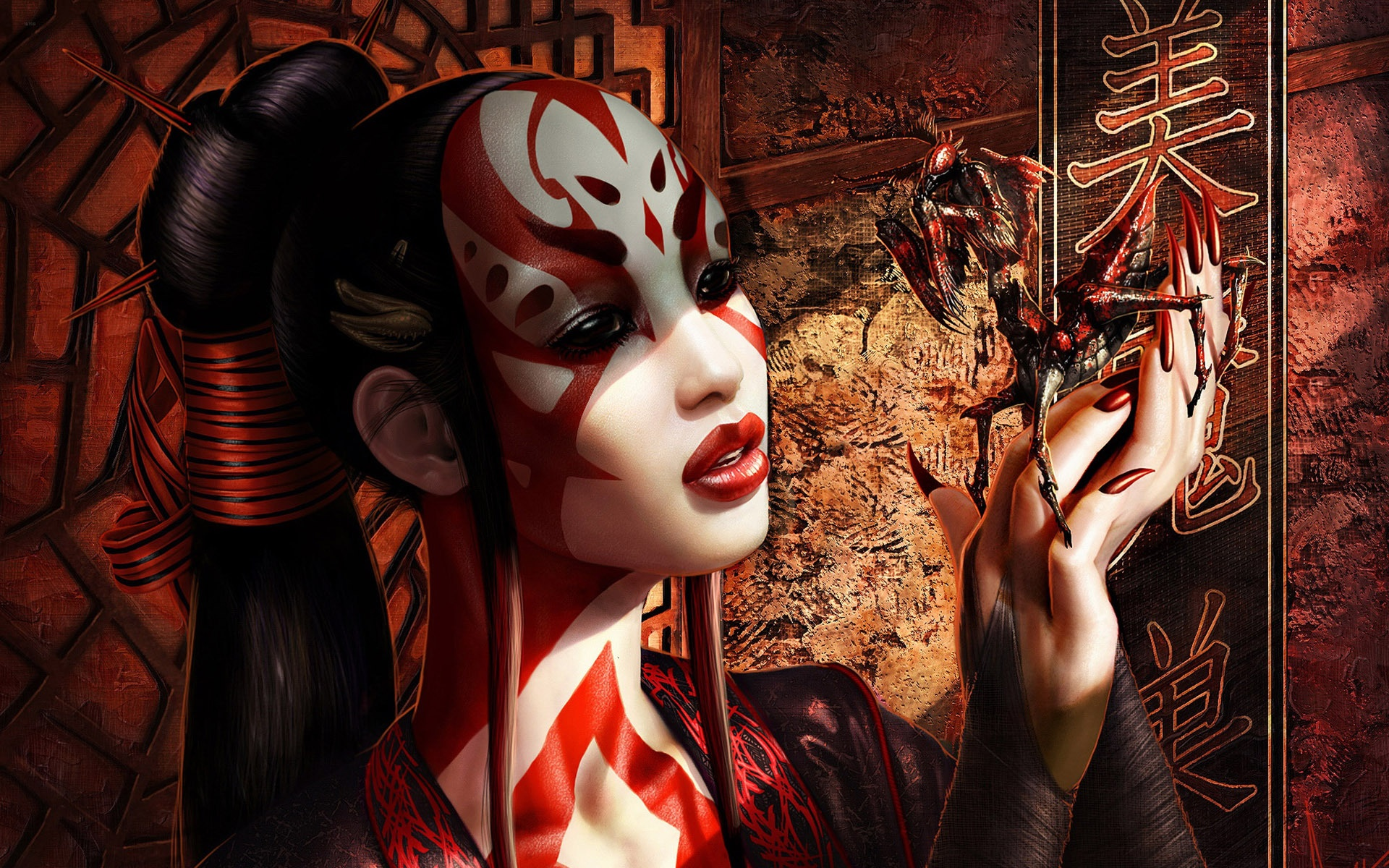 geisha wallpaper tamed red mantis 1920x1200 Wallpapers 3d for desktop 1920x1200
