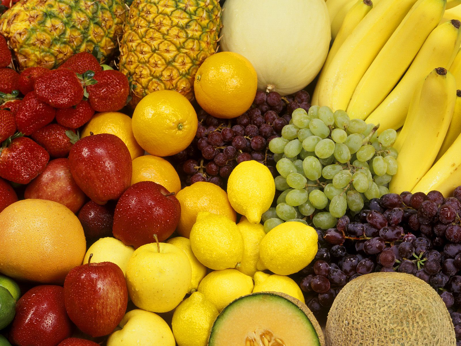 Fresh Fruit Bonanza   Food And Drink Wallpaper Image featuring Fruit 1600x1200