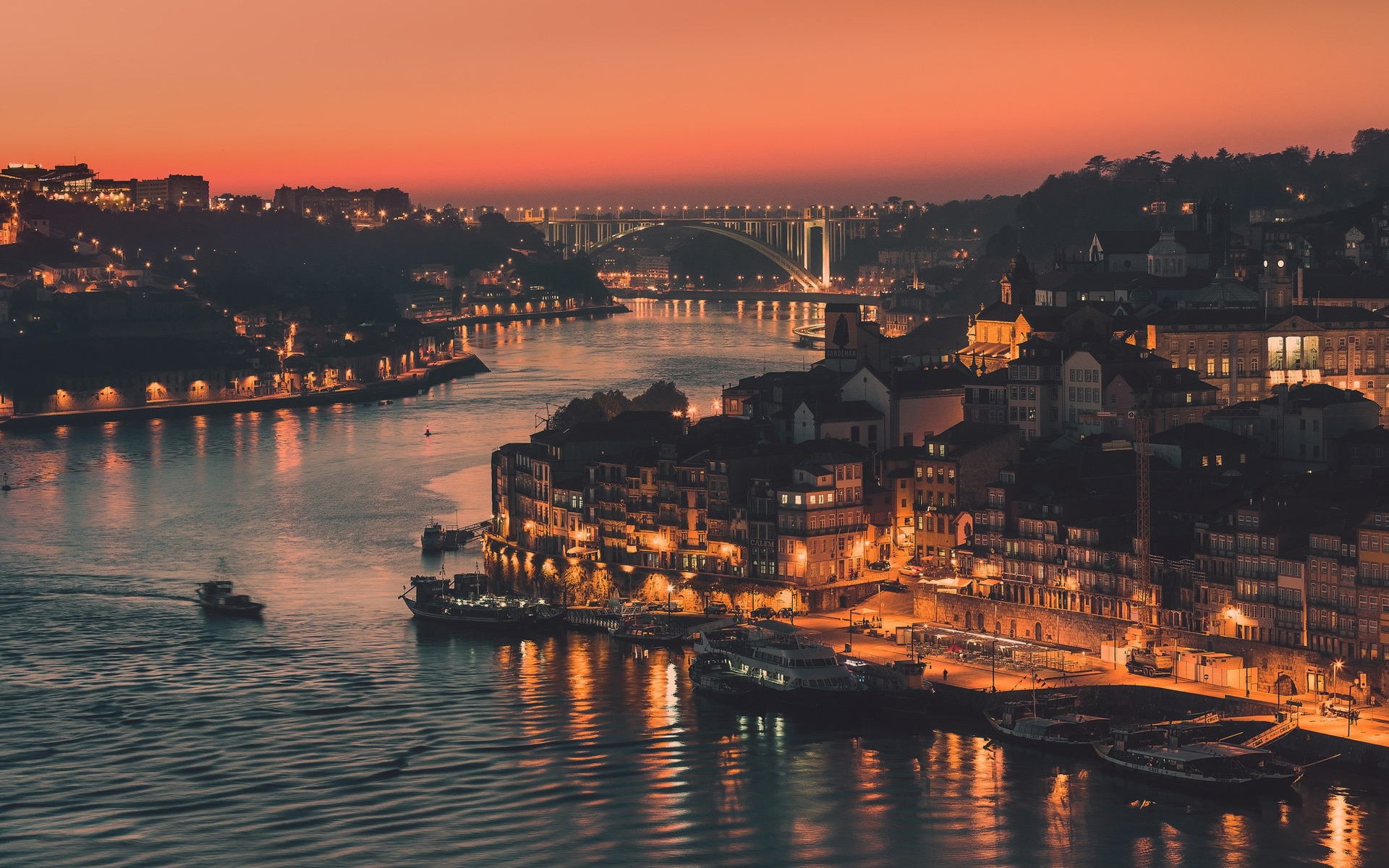 Wallpaper Portugal city of Porto evening lights river bridge 1920x1200