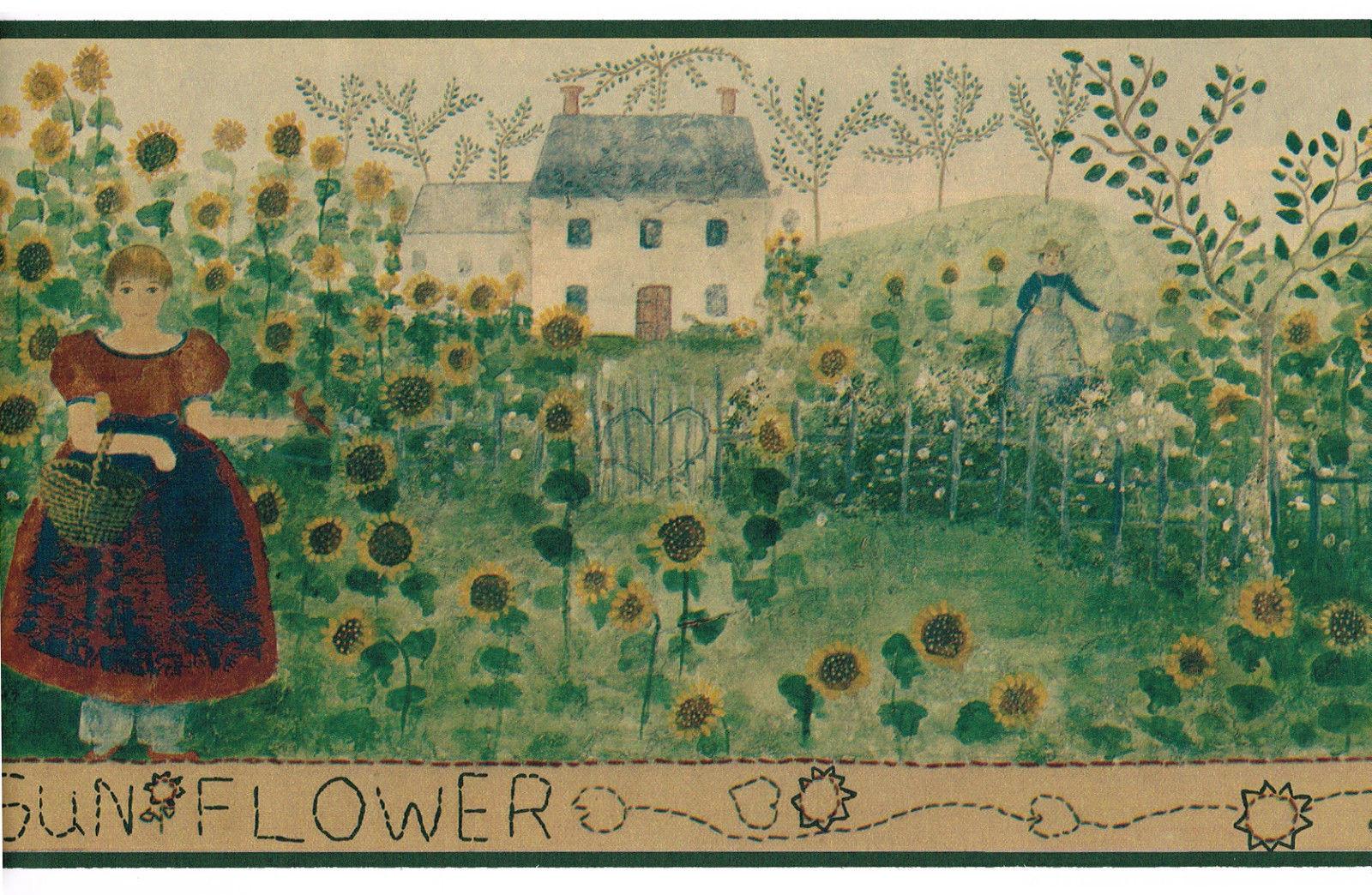 Field Garden Country Vintage Primitive Folk Art Green Wallpaper Border 1600x1044