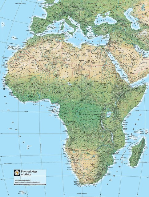 Physical Map of Africa Wallpaper Wall Mural   Self Adhesive   Multiple 484x640