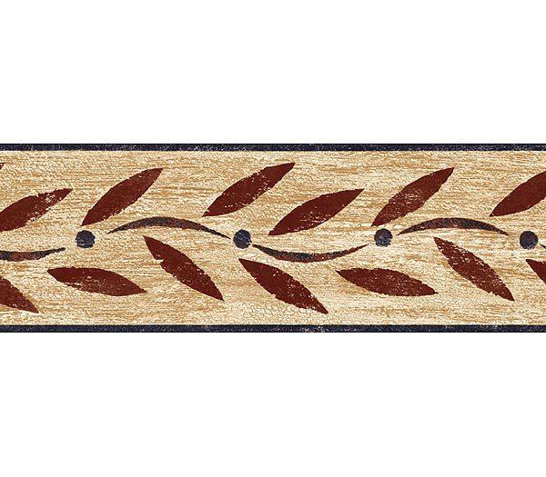 Burgundy Country Leaf Wallpaper Border 600x525